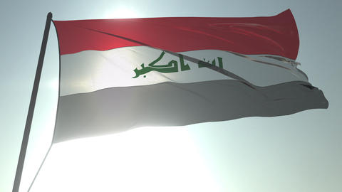 Waving flag of Iraq against shining sun and sky. Realistic loopable 3D animation Footage