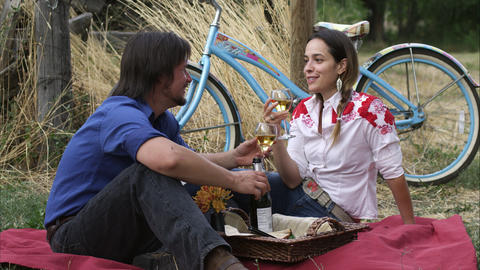 Slow static shot of a young couple having an outdoor picnic Footage