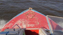 Bow of passenger boat on Tonle Sap lake,Tonle Sap,Cambodia Footage