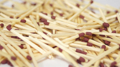 Wooden Match Pile Dolly Macro Footage