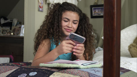 Slow motion of girl texting Footage
