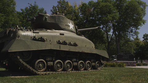 Dolly shot of an old Tank in Nemaha County Footage