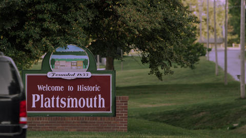Static view of the Welcome to Historic Plattsmouth sign Footage