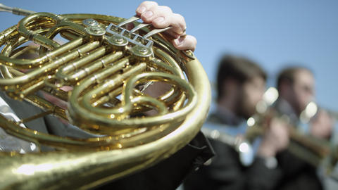 Outdoor Orchestra - Brass Instruments Footage
