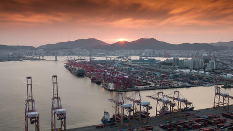 Container Terminal, Day to Night 4K Timelapse, Busan in South Korea Footage