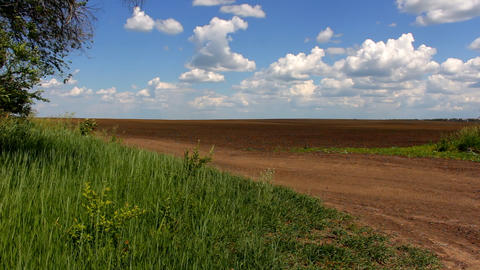 View of a plowed field Footage