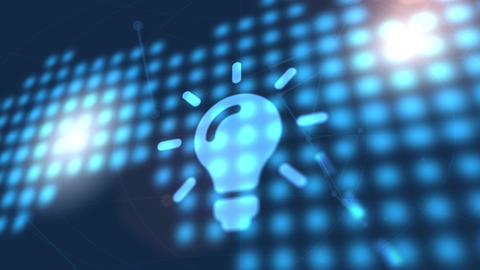 bulb idea icon animation blue digital world map technology background Animation