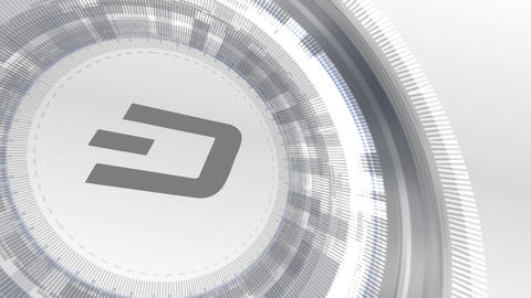 dash cryptocurrencyicon animation white digital elements technology background Animation