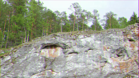 Glitch effect. Trees on the rock, Russia Live Action