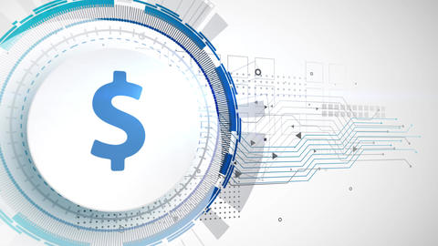 dollar currency icon animation white digital elements technology background Animation