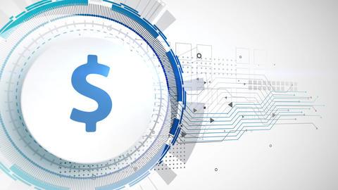 dollar currency icon animation white digital elements technology background Animation