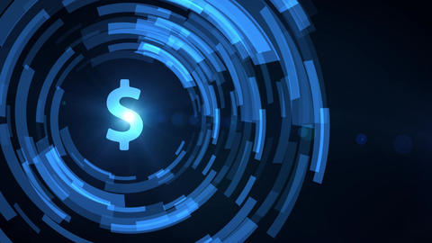 business man hand hologram hud projection dollar currency icon Animation