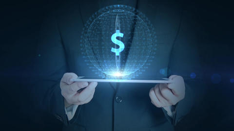 business man holding tablet hologramm hud projection dollar currency icon Animation