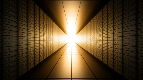 Dark long bank vault room with light at the end, seamless loop Animation