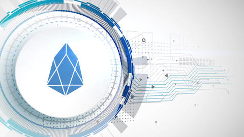 EOS cryptocurrency icon animation white digital elements technology background Animation