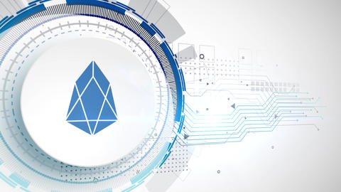 EOS cryptocurrency icon animation white digital elements… Stock Video Footage