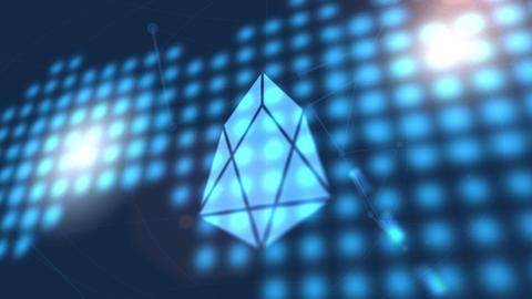 EOS cryptocurrency icon animation blue digital world map technology background Animation