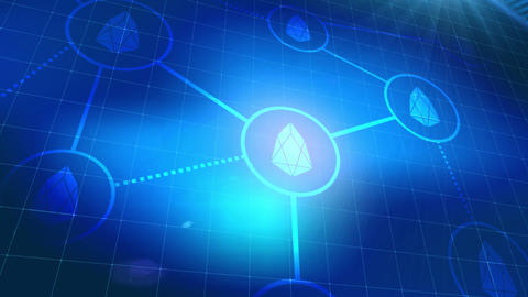 EOS cryptocurrency icon animation blue digital elements… Stock Video Footage