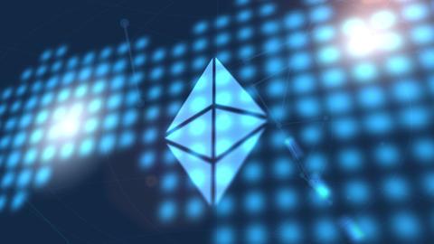 ethereum cryptocurrency icon animation blue digital world map technology Animation