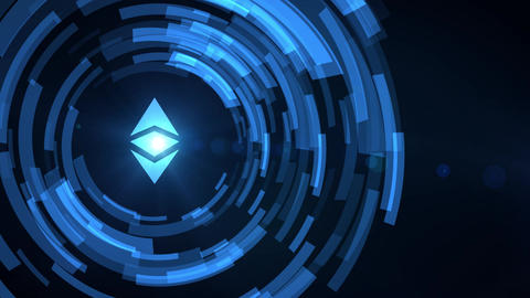 business man hand hologram hud projection ethereum classic cryptocurrency icon Animation