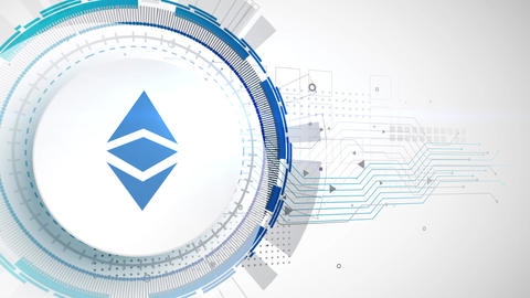 ethereum classic cryptocurrency icon animation white digital elements technology Animation