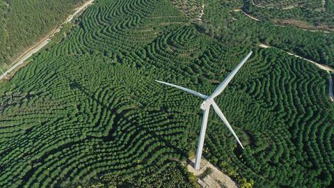 Aerial of windmills or wind turbine on wind farm Footage