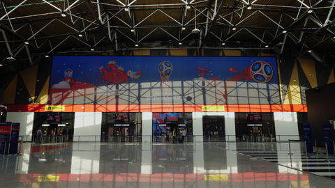 Russia 2018 FIFA World Cup banner at Sheremetyevo…, Live Action