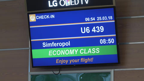 LED display with flight information at the airport Footage