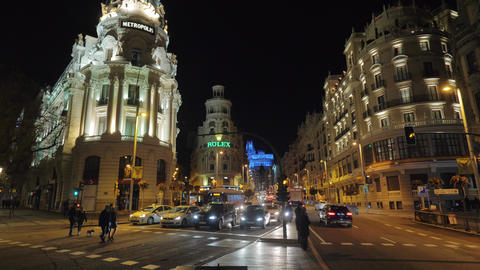 Madrid cityscape with Gran Via street and Metropolis building, Spain Footage