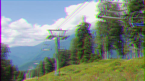 Glitch effect. Do not move the Chair lift. Sochi, Russia Footage
