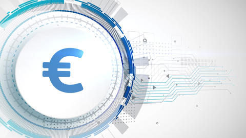 euro currency icon animation white digital elements technology background Animation