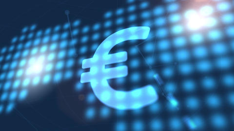 euro currency icon animation blue digital world map technology background Animation