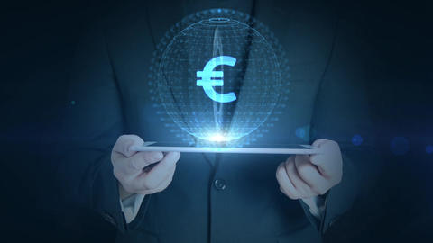 business man holding tablet hologramm hud projection euro currency icon Animation