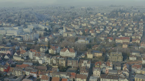 Eutingen, Pforzheim aerial on a freeze day 10bit Footage