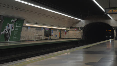 Train arrival to the station of Madrid subway, Spain Live Action