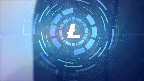 business man hand hologram hud projection litecoin cryptocurrency icon Animation