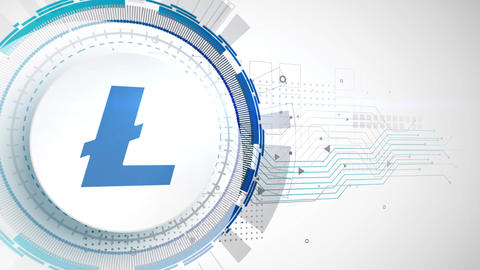 litecoin cryptocurrency icon animation white digital elements technology Animation