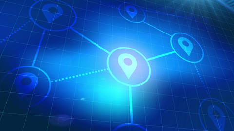 location icon animation blue digital elements technology... Stock Video Footage