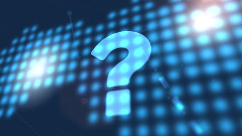 question mark sign faq icon animation blue digital world map technology Animation