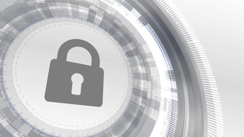 padlock security icon animation white digital elements technology background Animation