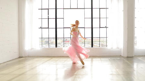 Beautiful Ballerina In Slow Motion Footage