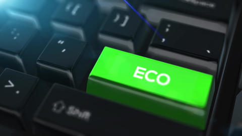 Animation close up computer keyboard with ECO Button Animation