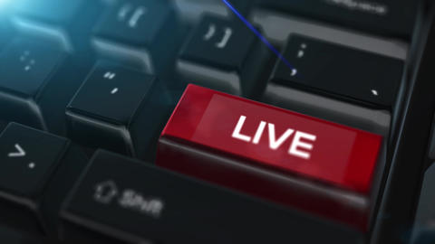 Animation close up computer keyboard with Live Button Animation