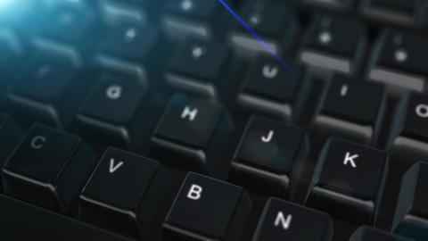 Animation close up computer keyboard with Request Button Stock Video Footage