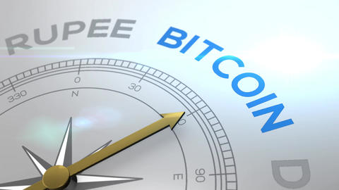 Compass with the text BITCOIN concept video for cryptocurrency blue shiny Animation