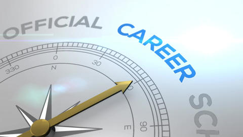 Compass with the text CAREER right path, concept video for good direction white Animation