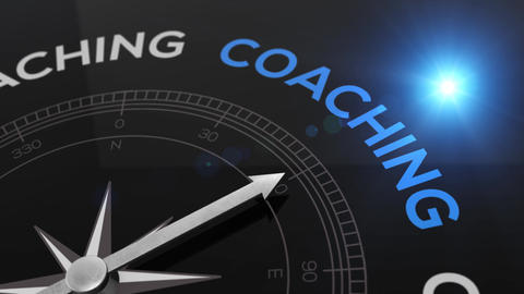 Compass with the text COACHING right path, concept video for good direction blue Animation