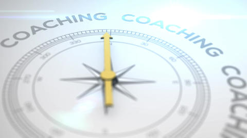 Compass with the text COACHING right path, concept video... Stock Video Footage