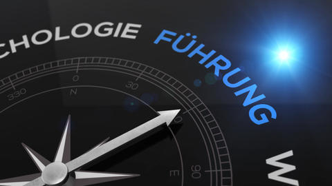 Compass with text - Fuehrung- german word for leadership - right path, concept Animation