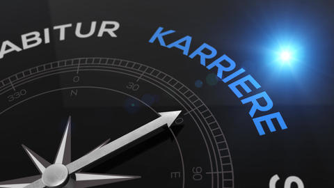 Compass with text - KARRIERE- german word for CAREER- right path, concept video Animation